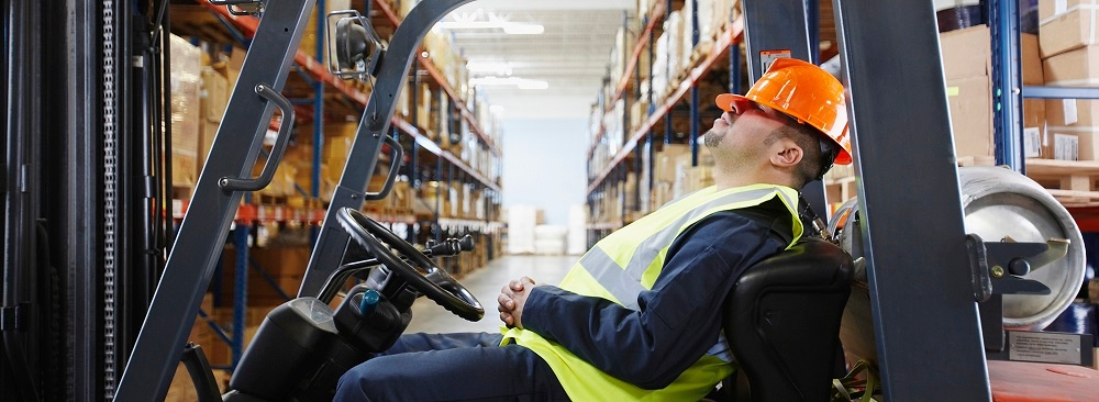 Sleeping working forklift safety